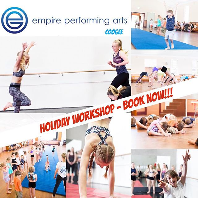 🌼GET YOUR CHILD MOVING THESE HOLIDAYS🌼  Enrol Now @ empireperformingarts.com.au Holiday Workshop! 🔷ACROBATICS🔷JAZZ🔷BALLET  TUESDAY 24TH APRIL- St Brigid's Parish Hall,Coogee  JUNIORS - 5-8yrs - 9:00-11:00am - $40  INTERMEDIATE- 9-12yrs- 11:00-2:00pm - $60 * Make new friends in your local area * Learn new skills * Enjoy our 13 metre Acro Matt * Move Shake Giggly and Create through our fun and dynamic classes * Bring a friend and enjoy this together 💥Meet our friendly, highly qualified and inspiring teachers. 💥OPEN TO EVERYONE- no previous dance experience needed  BOOK NOW TO AVOID DISAPPOINTMENT! 😊 🌟Check out our website empireperformingarts.com.au Holiday Workshop for more details 🌟  info@empireperformingarts.com.au