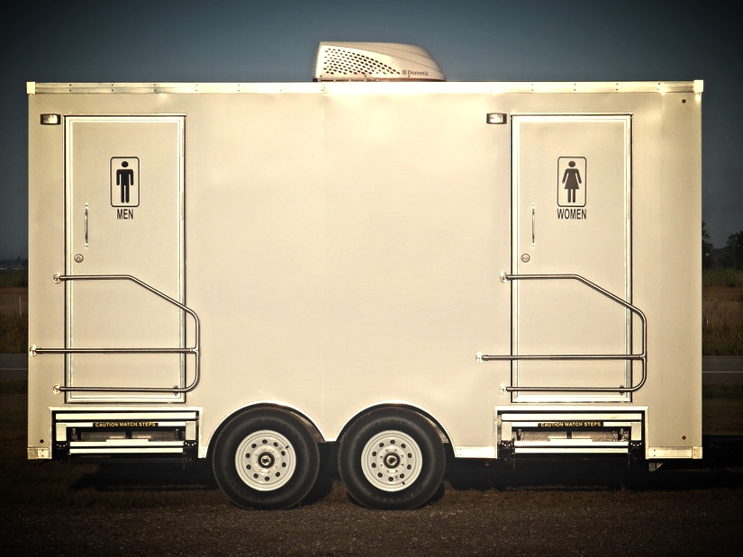 Deluxe 2 Double Suites Portable Restroom Trailer Rental
