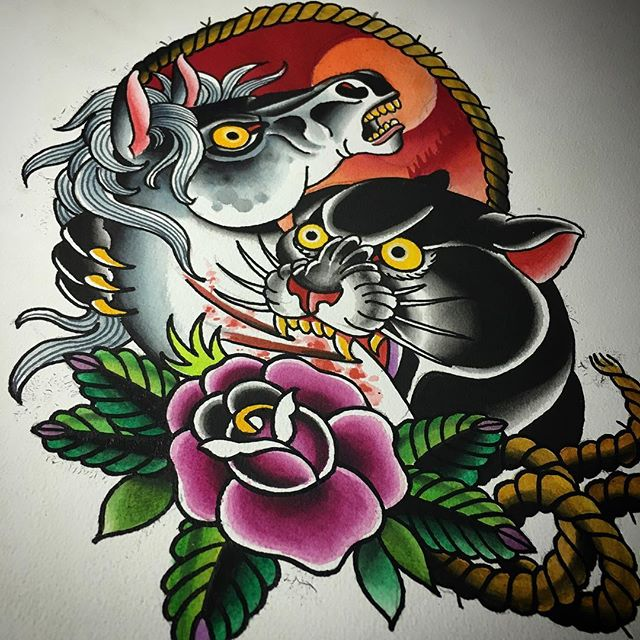 Panther horse battle, fun stuff water color on paper #spitshaded #americanatattoos #traditionaltattoo #