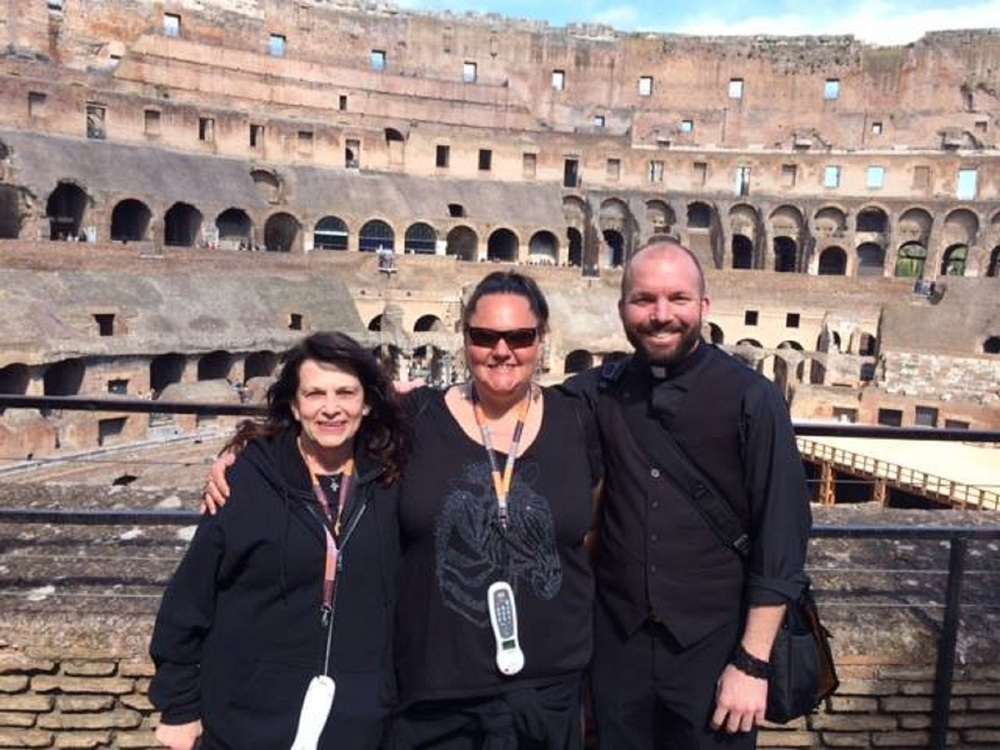 Tanya, Glitterbear, and Father Michael in Rome, showing you thanks and love!