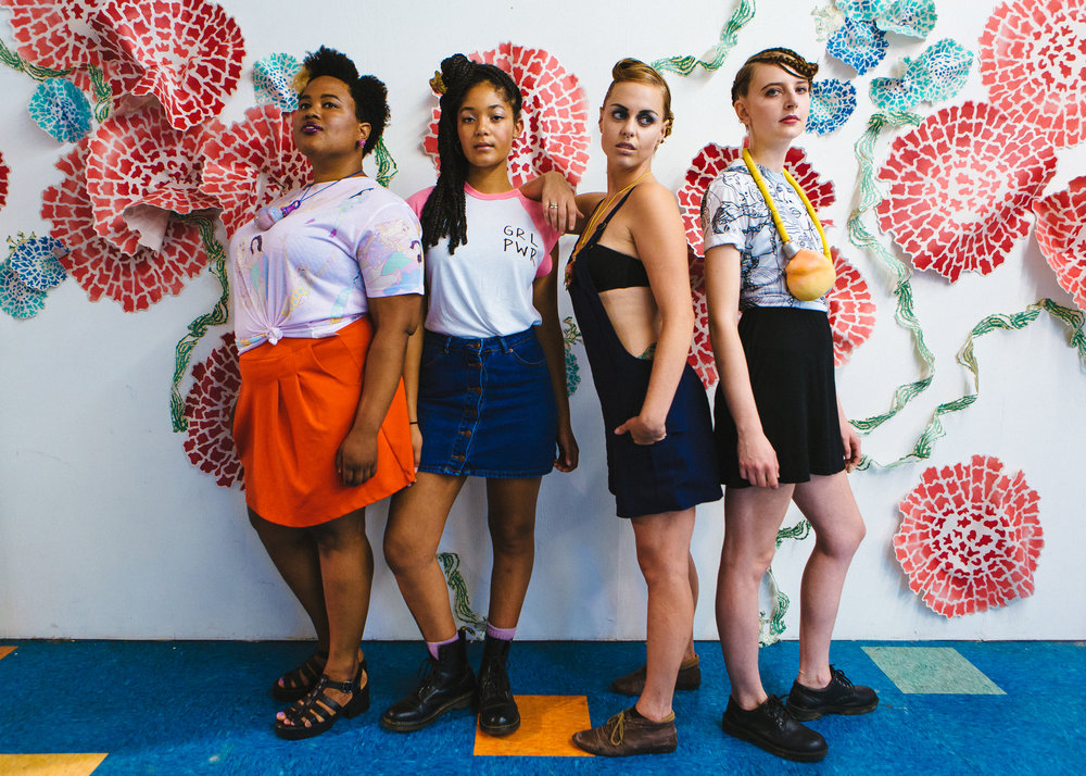 Alexia, Aisha, Alice, and Liz during out Public Space One photo/video style shoot. Photo by Stephanie Sunberg.