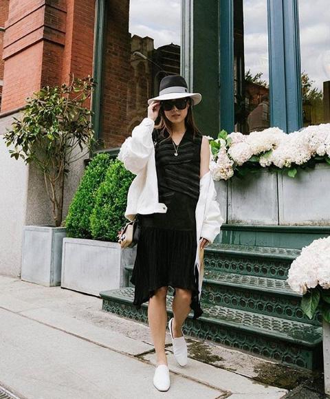 @eggcanvas  in S/S 17 dress +oversized jacket