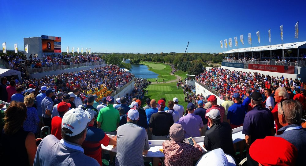 The Presidents Cup 2017 first tee at Liberty National Golf Club, NJ