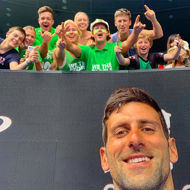 When you're supporting Peersy at the doubles final and then @djokernole shows up for practice before his final! #wethepeopletours