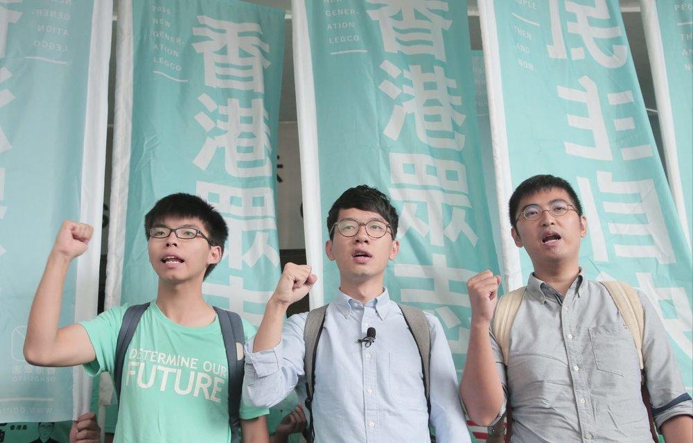 """""""準備面對判刑 Preparing to Face Sentence""""From Left to Right: Joshua Wong, Nathan Law, Alex Chow (Photo: Facebook/Joshua Wong)"""