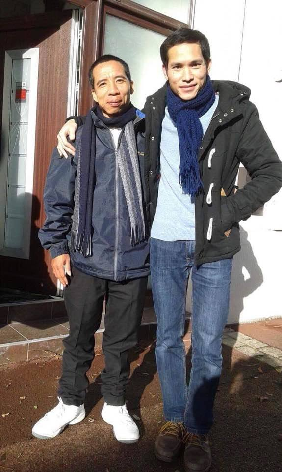 Đặng Xuân Diệu (left) with his nephew after his arrival in Paris. (Photo courtesy: Trương Minh Tam / Facebook)