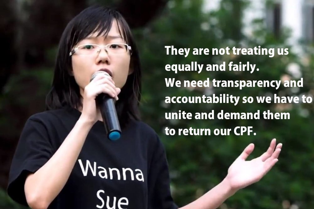 In 2014, Han Hui Hui participated in the #ReturnOurCPF movement in Singapore. (Photo: Facebook/Han Hui Hui)