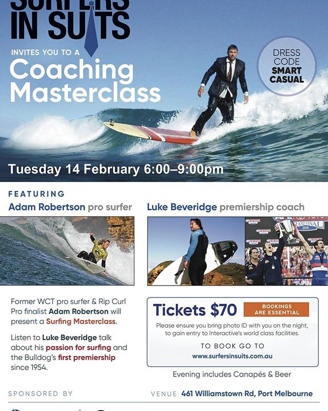 Reminder that the Surfers in Suits function is on this Tuesday the 14th at Interactive,  featuring Bulldogs Premiership coach and keen surfer Luke Beveridge and Surfing Victoria CEO Adam Robertson.⠀ Tickets can be purchased at www.surfersinsuits.com.au⠀