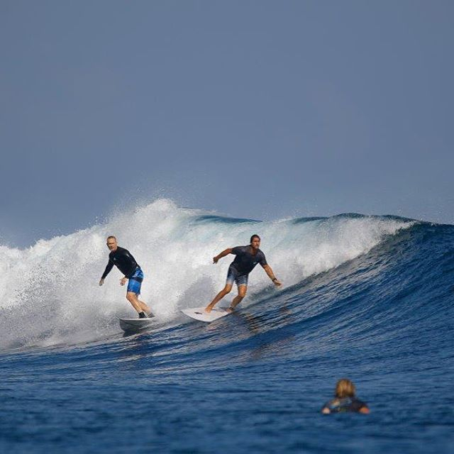 Can't have a #surfersinsuits trip without @rickola47 dropping in on @sdurkin03 #scarreef #westsumbawa #bahabahavillas #theperfectwave