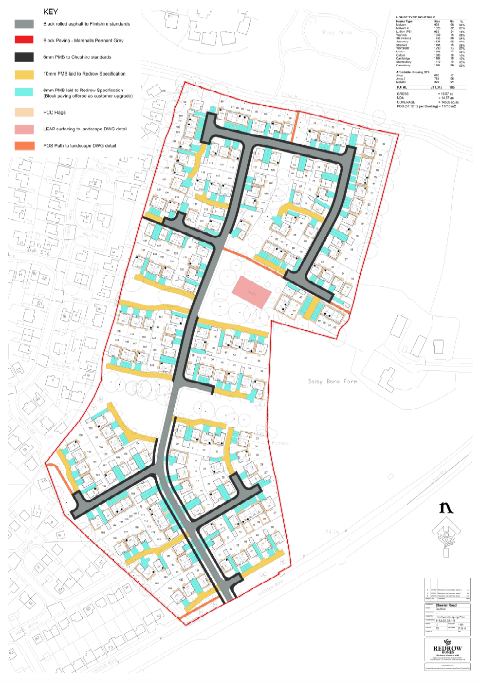 This shows the footpaths (red) and road layout