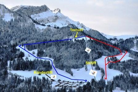 """Blaue Piste """"Esel"""": Skivergnügen für alle    Rote Piste """"Unterblasen"""": Sportlich; der einzige Weltcuphang der Zentralschweiz!        Kinderlift: Einfacher Kinderlift mit Griff-Bügeln, Kindertor, Kinderkarussell, zwei Abfahrten, Spieltieren"""