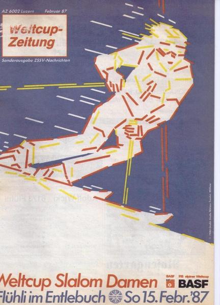 Das Plakat für das bisher einzige alpine Weltcuprennen in der Zentralschweiz gestaltet vom bekannten Willisauer Künstler Knox Troxler.