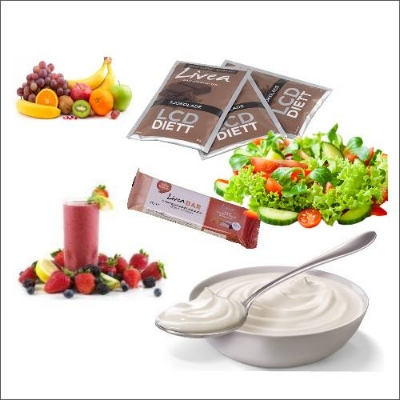 Lunsj/mellommåltid: kostholds erstatning(barer, pulver/om ned i vekt eller rask næring,) yoghurt, smoothie, salater, frukt. Andre ting kan være: fugl og fisk, nøtter, cottage cheese.
