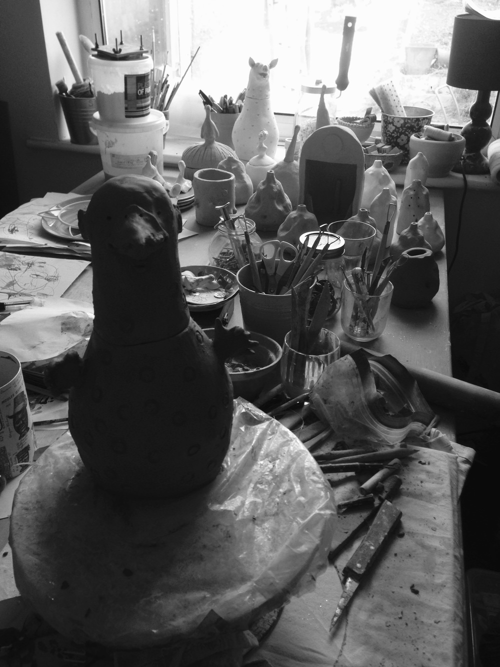 My rather messy studio with Monsieur Oiseau