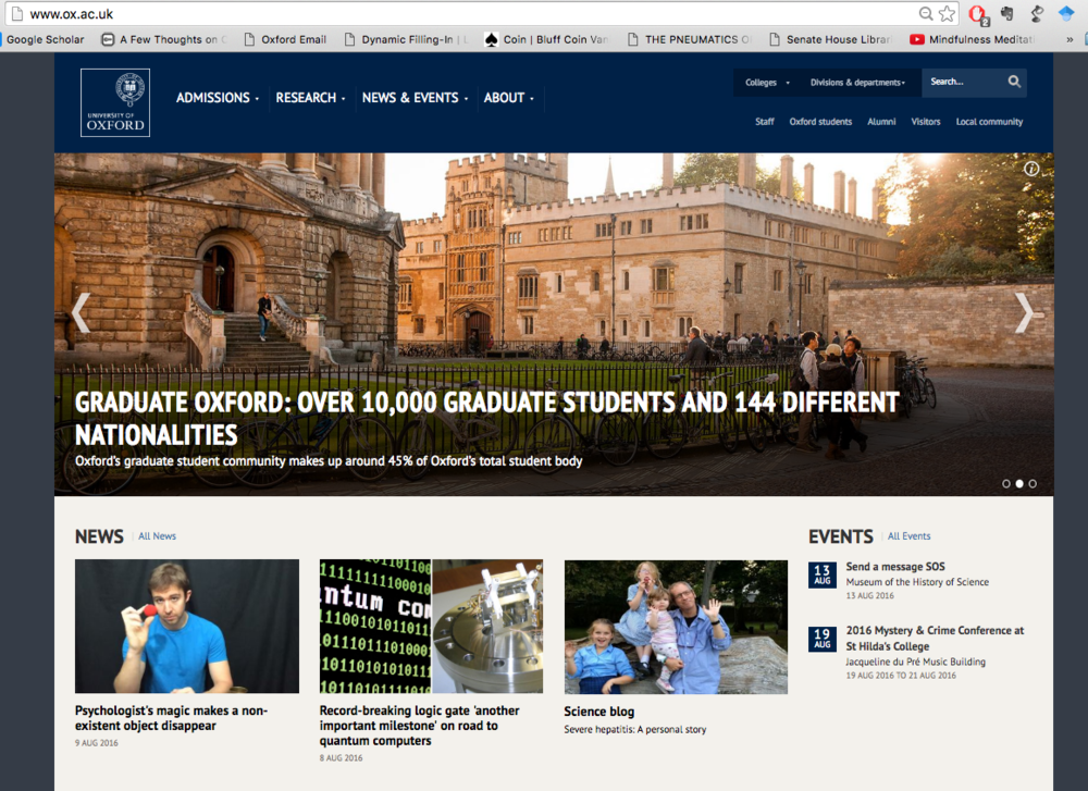 Our publication featured on the front page of Oxford University's website
