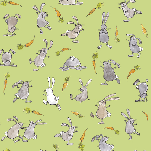 "Rabbits with carrots- background colour ""fields"""