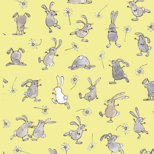 "rabbits with daisies - background colour ""lemons"""