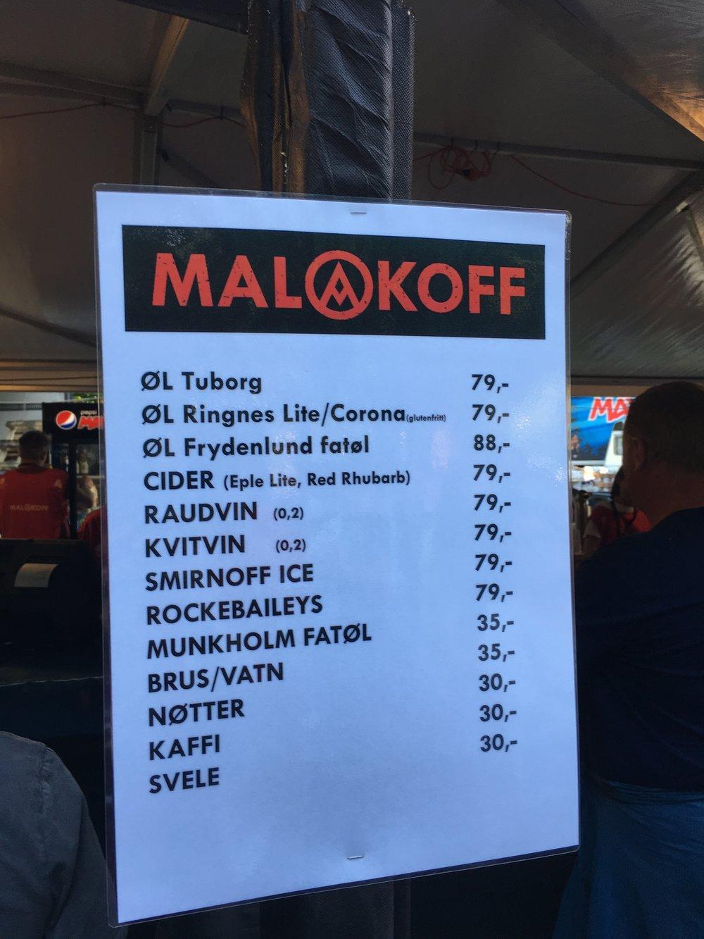 Kremlikør på Malakoff-menyen