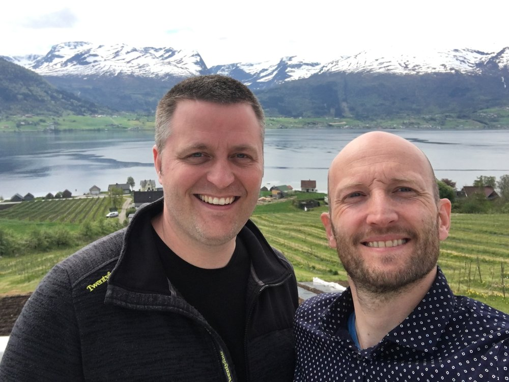 The first time Jann and I met: On top of the distillery roof. The apple trees, the mountains and the beautiful Nordfjord is a great view. No wonder they wanted to live and start spirits production here.