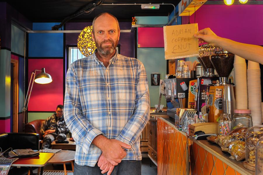 Adrian Jones at his coffee shop Jonestown.