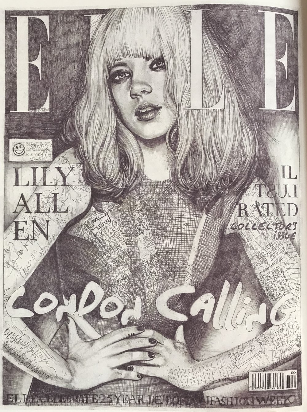 John Paul Thurlow - Cover 92, Lily Allen, British Elle, 2009.  Mechanical pencil on artwork paper 59.4 x 42cm