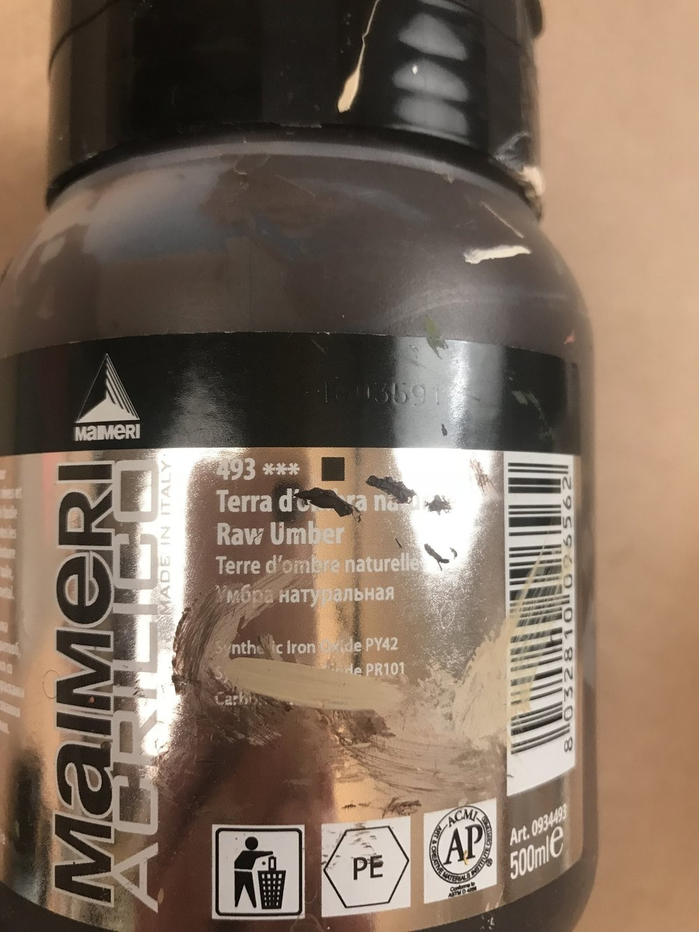 Raw Umber  -  Yellow Iron Oxide PY42, Red Iron Oxide PY101 and Carbon Black PB6