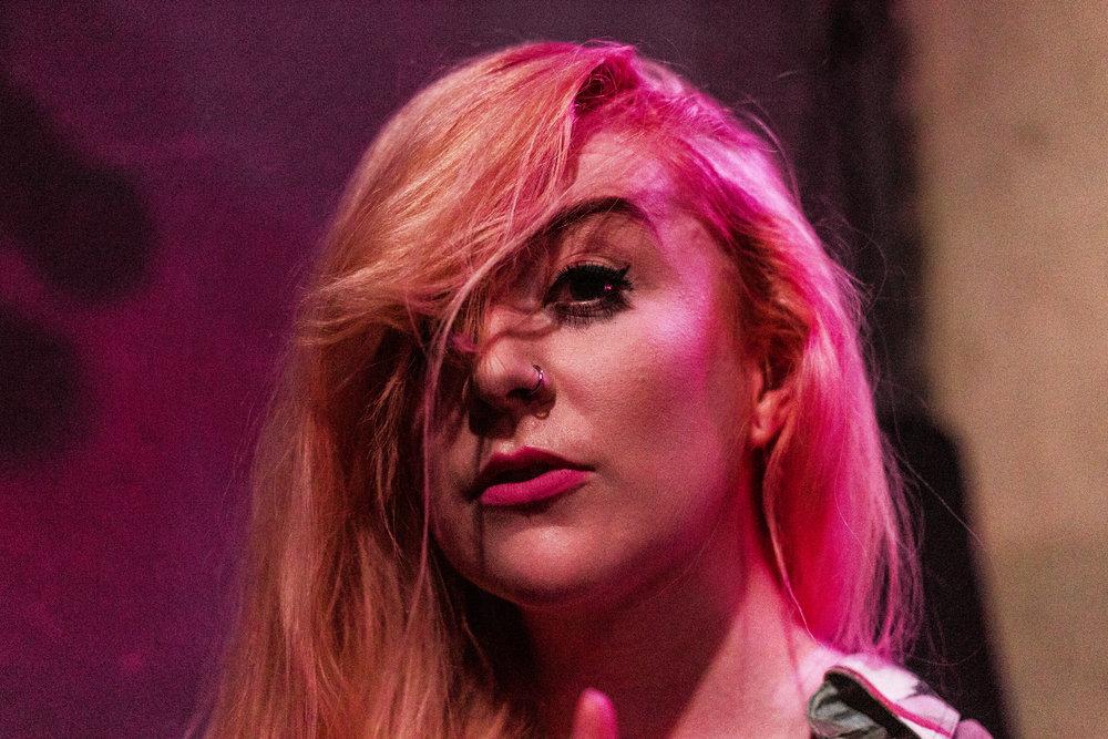 Portrait of Erin Donnachie of Banshee immediately after a set