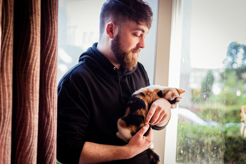 Marc Strain with his kitten