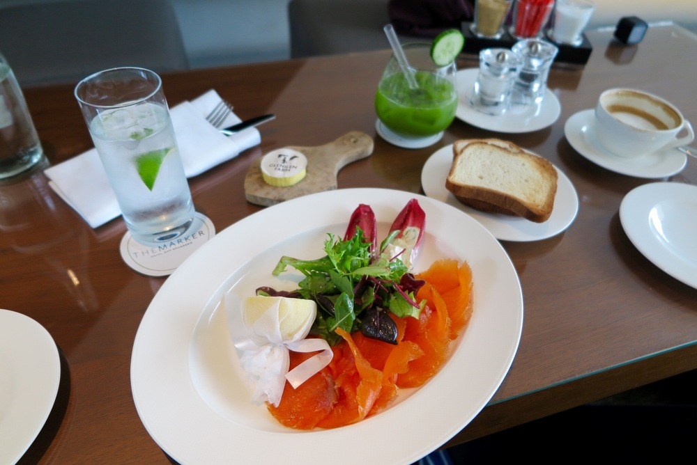We started with a shared plate of smoked salmon and gluten-free bread.
