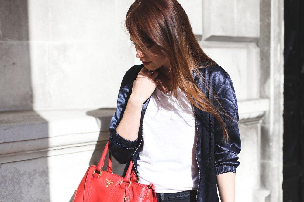red prada handbag, fashion tips