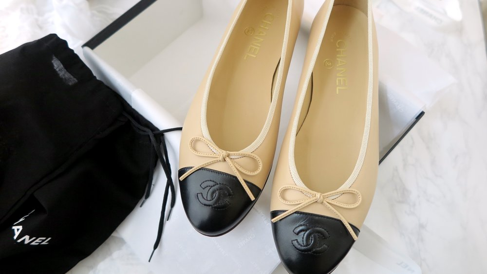 chic chanel beige and black flats
