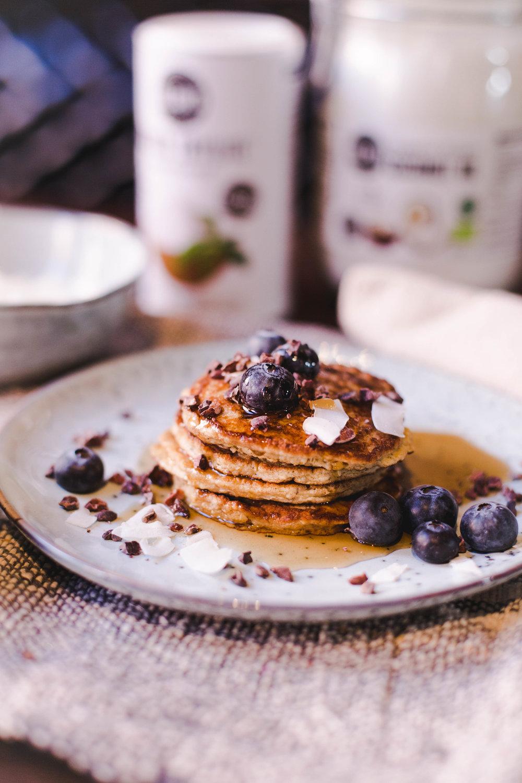 sweet vegan pancakes with blue berries