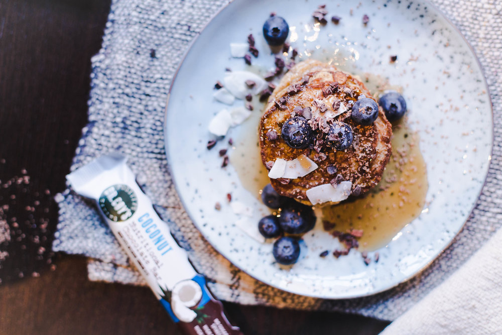 vegan pancakes with coconut and blueberries