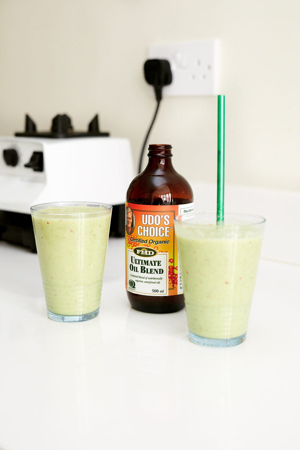 Glowing green smoothie with UDO's Choice