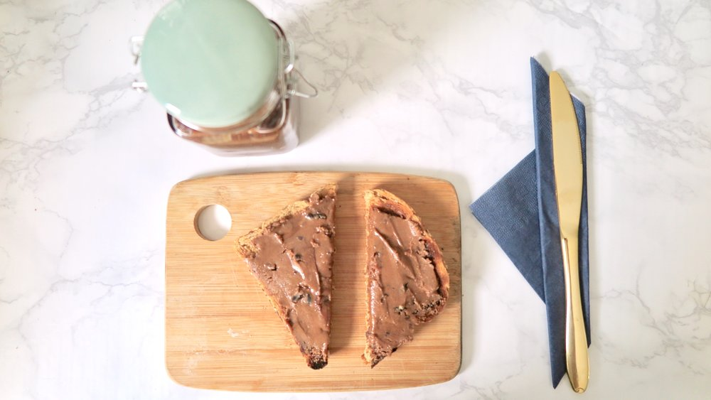 vegan nutella spread on bread