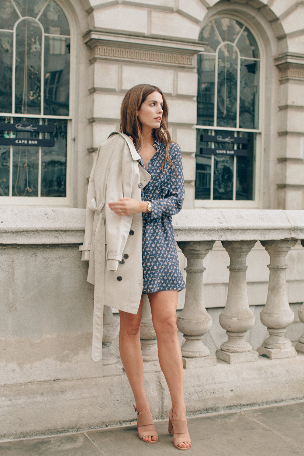 Blue mini dress and trench coat