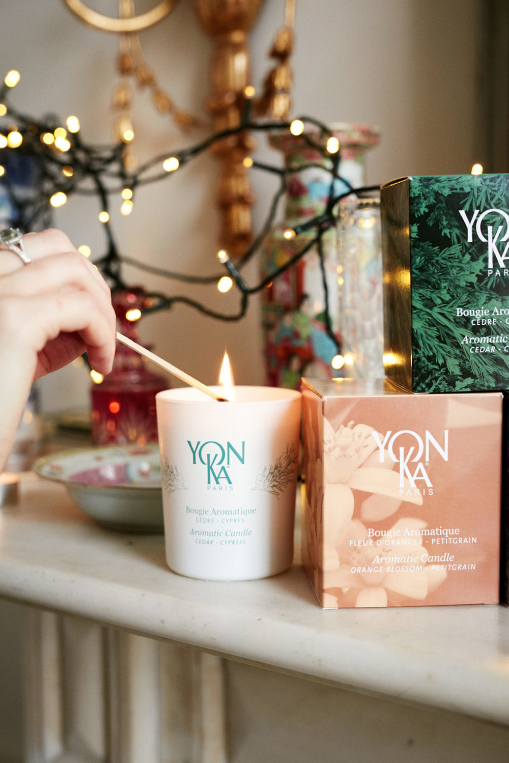 Yonka Christmas Gift Holly White natural Christmas candles