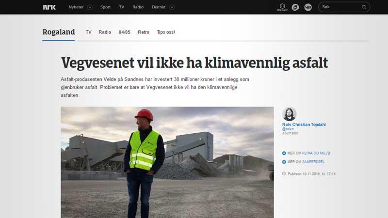 """Se saken """"Vegvesenet vil ikke ha klimavennlig asfalt"""" fra NRK Rogaland."""