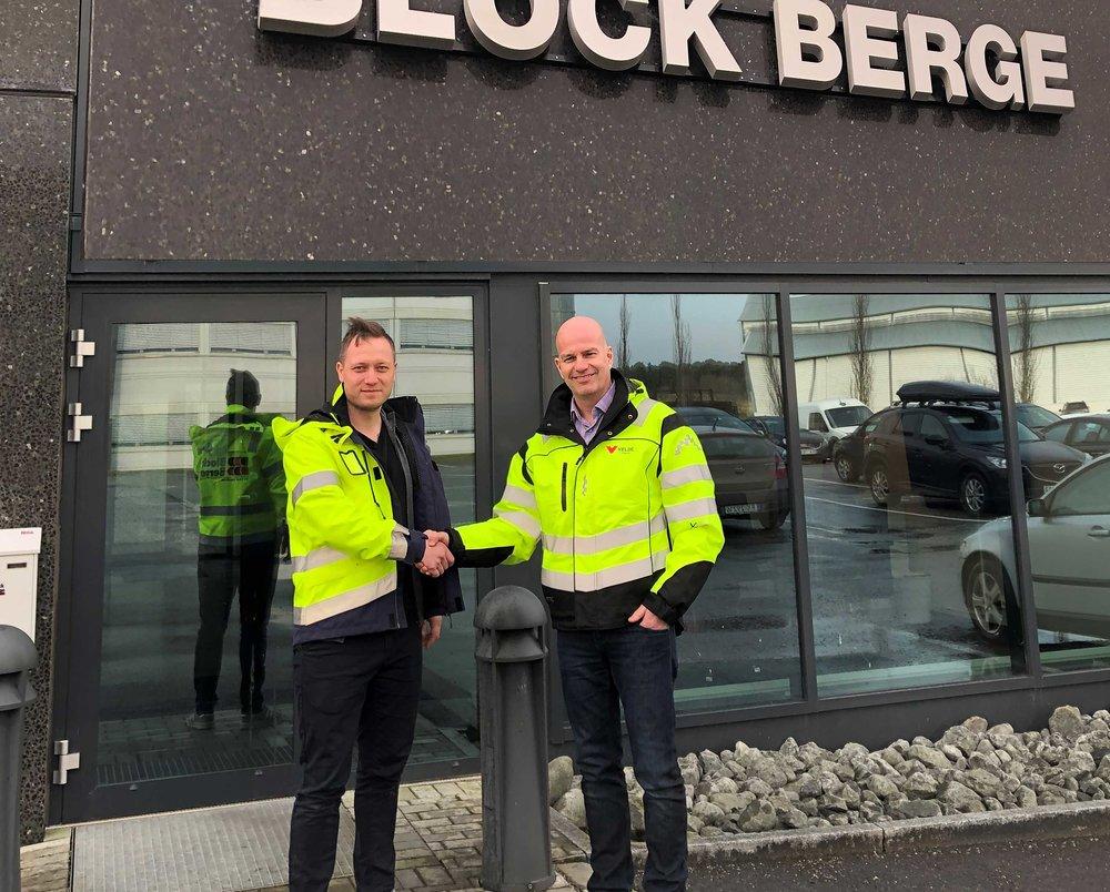 Salgssjef Velde Arild Klingsheim og Geir Hauge Eide, Fabrikksjef Block Berge Bygg AS