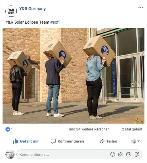 - Y&R SolarEclipse ExperienceMit Hilfe einfacher, aber für sich schon spektakulärer 'Pinhole-Projektoren' luden wir Mitarbeiter wie Büronachbarn ein, die einmalige Erfahrung einer Sonnenfinsternis gemeinsam mit uns zu erleben.
