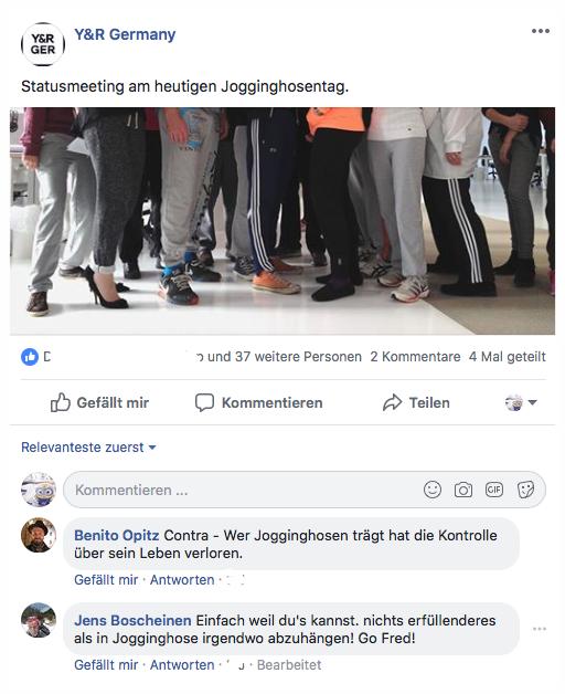 - Y&R goes JogginghoseOK, mittlerweile ist der Weltjogginghosentag so abgerissen wie der vierte Mai mit seinen