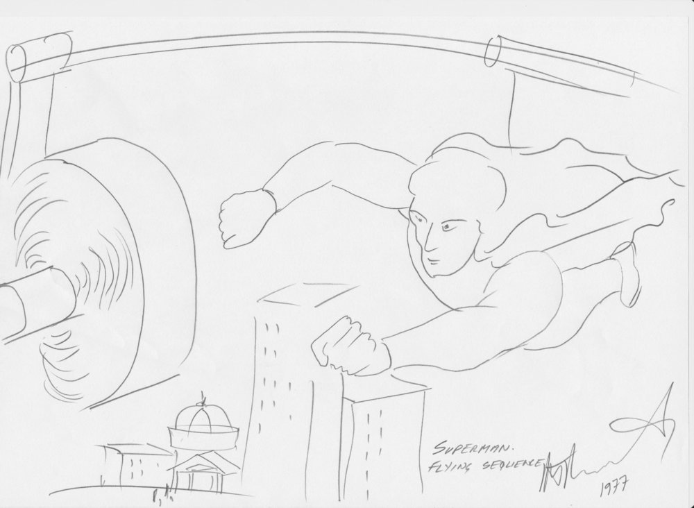 Superman - Dovemead Productions, filmed at Shepperton Studios.Wally Vivas, an expert in front projection, approached Andrew to see if it was possible to use a real man to play Superman.The concept was to suspend Superman in the air on a wire in front of a front projection screen and use lightweight fans to create the background wind and the movement of the cloak.An exciting proposition.