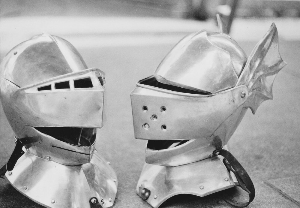 The good guys - The traditional medieval armour is well documented in history, and so to reproduce these designs in aluminium was a relatively easy task.