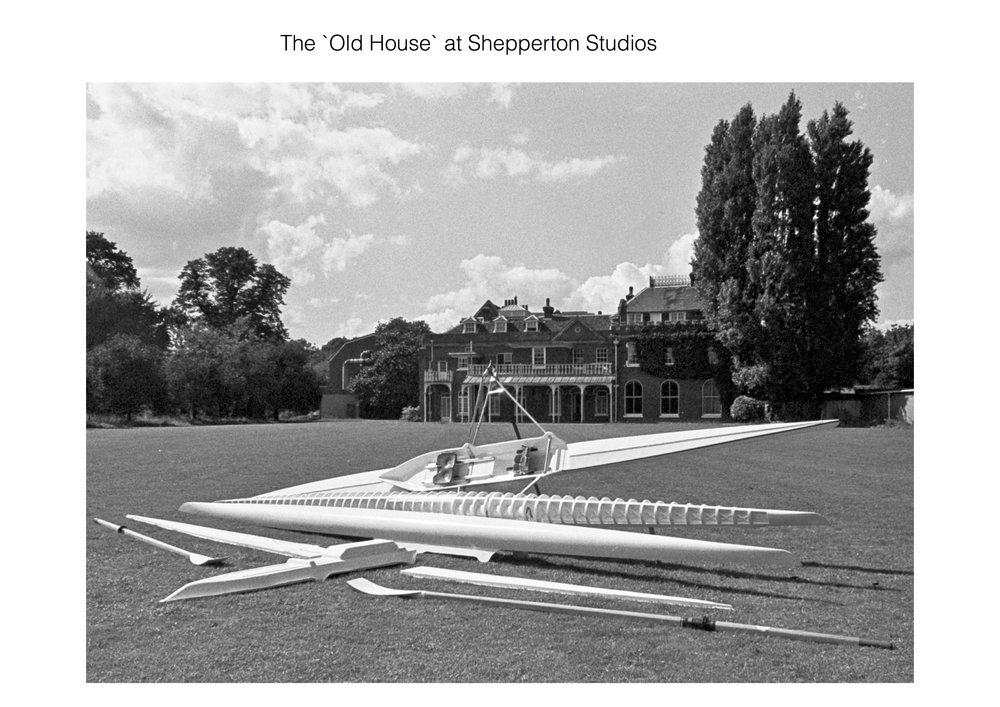 Film props & more…. - Andrew`s Building No. 11 was next door to the Old House at Shepperton Studios. This was occupied by Holoco ( The Who), and Andrew started to develop a set a carbon fibre trumpet shaped drums for Keith Moon, the drummer.Unfortunately Keith died before completion, and so the project was abandoned.
