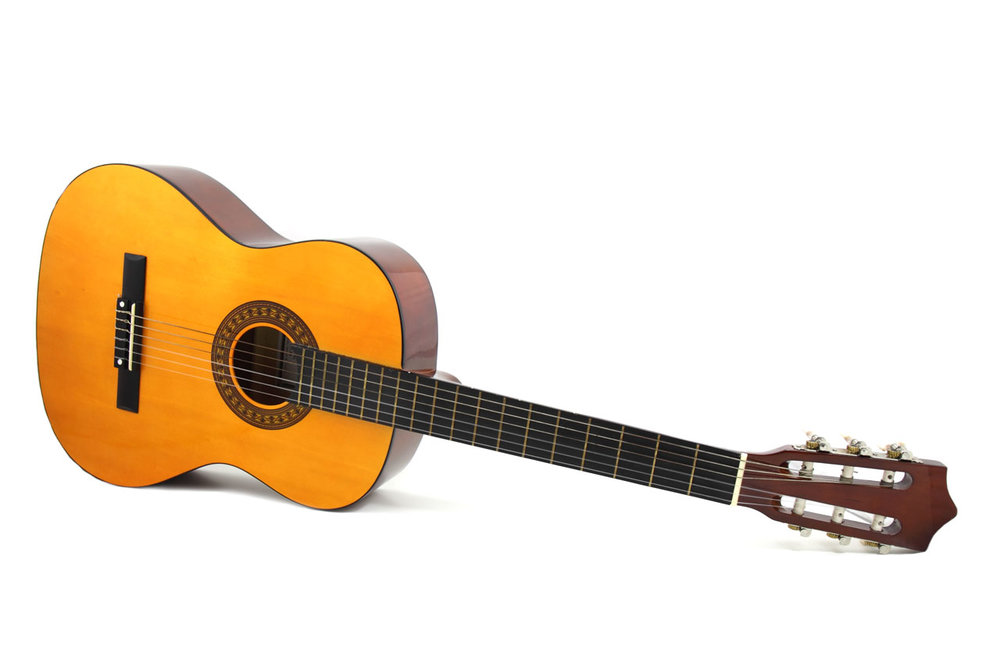 A standard nylon string guitar.
