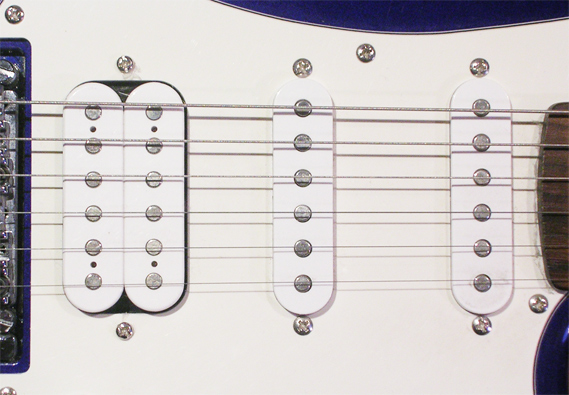 From left to right: Bridge pickup, middle pickup and neck pickup.