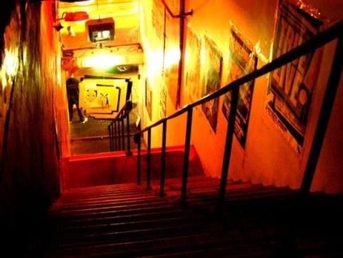 The notorious Revolver stairs. Breaking musicians backs for more than a decade.