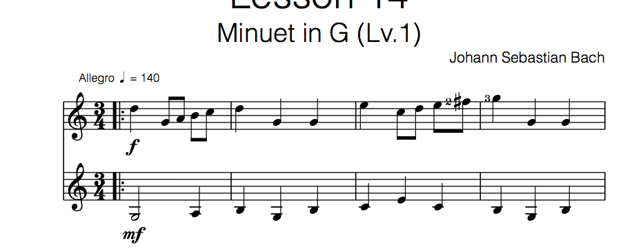 minuet in G classical guitar