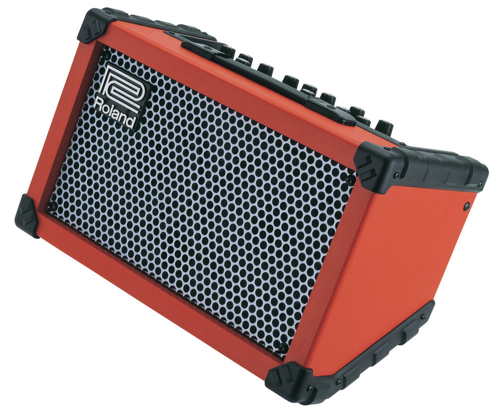 The Roland Cube Street is a great busking amps as it's battery powered, very portable and many models allow you to plug in a microphone or backing track input.