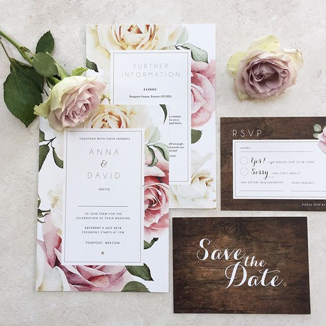 Beautiful blooms fill our Anna wedding stationery design making it perfect for a country wedding. For more information on this design get in touch. . . . #wedding #weddingstationery #bride #groom #invitations #savethedate #weddingflowers #roses #countrywedding #wedmin #weddingplanner #smallbusiness #blush #pink